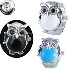 Fashion Round Retro Owl Finger Clamshell Ring Watch Women elastic Watchband 2cm image