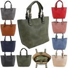 Womens New Plain Faux Leather Additional Bag Twin Handles Tote Shoulder Bag Set