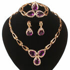 FASHION PURPLE 18K GP CRYSTAL ZIRCON NECLACE WEDDING JEWELRY SET-NEW,PLUS BONUS!
