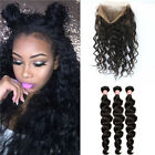 360 Lace Frontal Closure Peruvian Hair Lace Band Frontal With Loose Wave Bundles