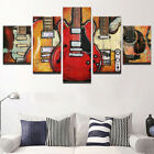 Framed MODERN ABSTRACT HUGE WALL ART OIL PAINTING ON CANVAS Guitar music 5PC