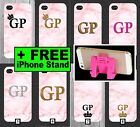 Pink Marble Phone Case  Personalised Initials Gold Pink Glitter 5 SE 6 7 5c + 6