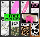 White Marble iPhone Case +FREE Phone Stand Gold Black Pink Initials 5 SE 6 7 +