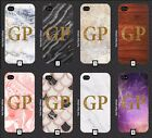 Personalised Gold Glitter Initials Marble Wood Phone Case 5 SE 6 7 S6 S7 S8  m5a