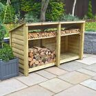 Normanton 4ft Outdoor Wooden Log Store - Reversed Roof - UK HAND MADE