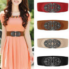Hot Women Wide Waist Belt Vintage Metal Flower Elastic Stretch Buckle Waistband