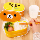 Portable Lunchbox Bento Cute Bear Food Container + Chopsticks 2 Layer For Kids