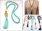 Long Necklace Glass Crystal Beads Gold Plated Metal fish Pendant Silk Tassel