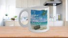 LIFE IS BETTER AT THE BEACH White Ceramic Mug-Beach Background-custom 11, 15 oz