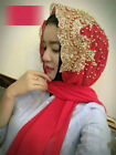 Women Bling Beaded Scarf Cap Lace Scarves Muslim Wedding Wrap Head Hijab Scarf