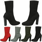 NEW WOMENS LADIES SOCK PULL ON STRETCH ANKLE HIGH BOOTS BLOCK HEELS PULL ON SIZE