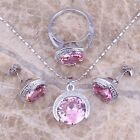 Round Pink Topaz Silver Jewelry Sets Earrings Pendant Ring S0075