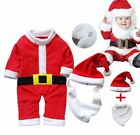 Baby Boy Girl First Christmas Santa Costume Outfit WARM Clothes+HAT Set NEWBORN