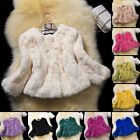 Women 100% Real Rex Rabbit Fur Coat Jacket Outwear 3/4 Sleeve Garment Warm Soft