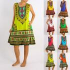 Women's Jungo Dress Tribal African Dashiki Summer Freesize Sleeveless Cotton AU