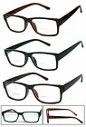 1 or 2 Pairs Retro Square Frame Mens Womens Bifocal Reading Glasses Spring Hinge