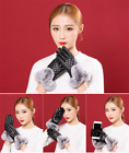 USWC Women Rabbit Fur Ball Leather Gloves Winter Mitten Grid Gloves Solid Color