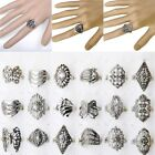 200pcs Wholesale Retro Bulk Jewelry Lots Mixed Style Tibet Silver Band Ring Gift