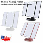 Tri-fold 2x 3x 22 LED Light Magnify Make-up Cosmetic Mirror Beauty Touch Screen