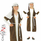 Child Shepherd Costume Boys Christmas Nativity Kids Fancy Dress Outfit Brown New