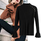 Autumn And Winter Korean Trumpet Sleeve Sweater Stripe Thin Knitted Sweater