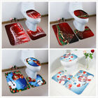 NEW 3 Pcs Happy Santa Toilet Seat Cover Rug Bathroom Set Decoration Christmas