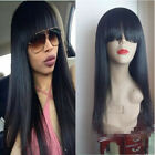 7A Brazilian Virgin Full/Front Lace Human Hair Wigs With Chinese Bangs Straight