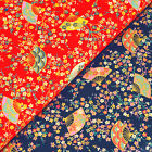 Japanese Cotton Fabric FQ Oriental Fan & Floral Asian Retro Print Patchwork VJ37