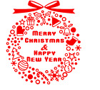 Merry christmas and happy new year sign sticker graphic decal shop display decor