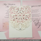 Personalised Diamante Laser Cut Personalise Ivory Pocketfold Wedding Invitations
