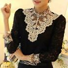 Elegant Women Ladies Long Sleeve Lace Shirt Casual High Neck Hollow Blouse Tops