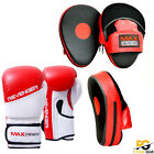 Boxing Gloves with Focus Pads Curved Hook and Jab Punch Bag Kick Fight MMA UFC