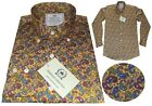 Relco Men's Yellow Mustard Paisley Long Sleeve Button Down Collar Platinum Shirt