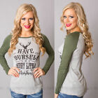 Womens Casual Pullover Christmas Print Sweatshirt T-Shirt Tops Blouse Jumper Hot