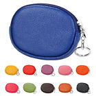 Womens Leather Mini Wallet Zip Around Coin Purse with Key Ring N2C1