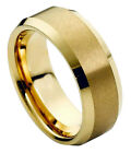Tungsten Ring Men Women Wedding Band Gold Plated Center & Shiny Beveled Edge 8mm