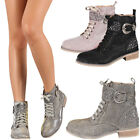 New Womens Shimmer Glitter Stud Military Combat Lace Up Ankle Booties Work Boots