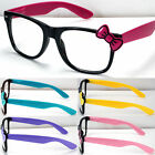 New Womens Girls Hello Kitty Fashion Clear Lens Glasses Bowknot Bow Pink Purple