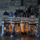 Handmade Mediterranean Style Lighthouse Wrought Iron Candle Stick Holder Decor
