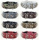 11 Colors Leather Spiked Studded Dog Collars for Pit Bull Mastiff Terrier Bully