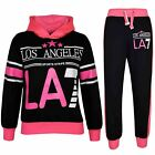 Kids Girls Tracksuit LOS ANGELES LA7 Print Hoodie & Bottom Jog Suit 5-13 Years