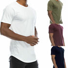 Men's T-Shirt Lot Long Extended Casual Fashion T-Shirt Basic Crew Neck Hip Hop