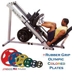 NEW PACKAGE: BodySolid GLPH1100 Leg Press Hack Squat +COLORED Rubber Grip Plates