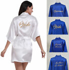 Satin Robe White Royal Blue Bride Bridesmaid Wedding Kimono Sleepwear Bathrobe