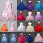 Toddler Girls Formal Flower Kids Tulle Tutu Dress Princess Pageant Party Skirt