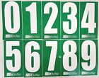 2 x White numbers on Green background -Iame-X30 Rotax Cadet Karting Race Numbers