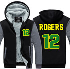 AARON RODGERS #12 GREEN BAY FOOTBALL ZIP THICK HOODIE JACKET, M-L