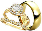 New His And Hers Tungsten /925 Sterling Silver Wedding Engagement Gold Ring Set
