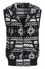 Womens Fair Isle Gilet Ladies Size 8 10 12 Waistcoat Fleece Jacket Black