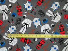 KARATE MARTIAL ARTS GRAY COTTON FABRIC 15 1/2 Inch Scrab Cuts